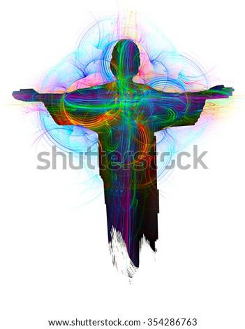 Jesus Resurrection abstract illustration - stock photo