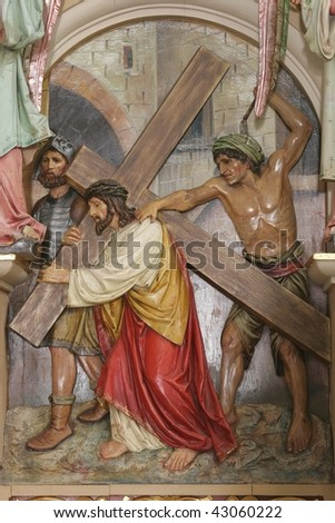 Jesus Takes Up His Cross - stock photo
