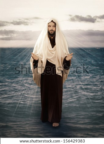 Jesus Walks on Water with the light behind him - stock photo