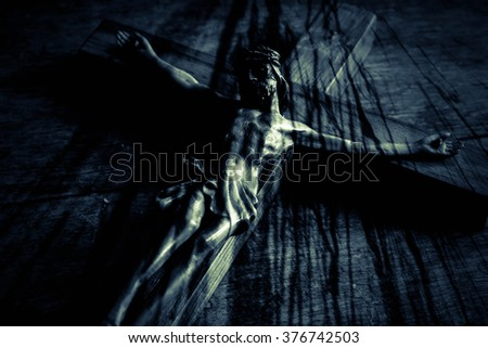 Jesus with the cross,Faith belief and hope concept - stock photo