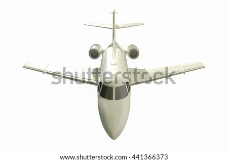 Jet aircraft flying in a white background 3d rendering. - stock photo