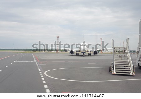 Jet aircraft in airport of Riga - stock photo