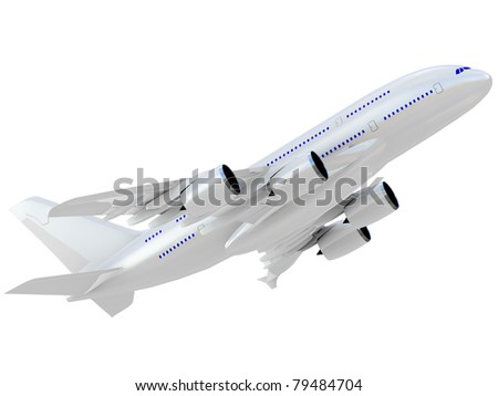 Jet airliner. Isolated on white background. - stock photo