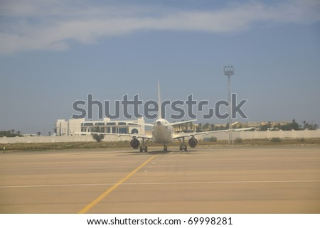 jet airplane aircraft repair and fuel tank - stock photo