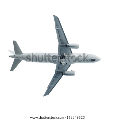 Jet airplane fly isolated on white background - stock photo