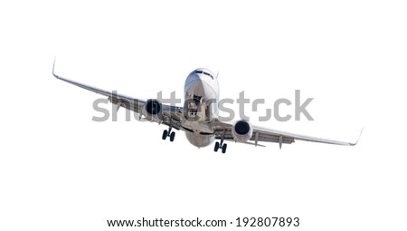 Jet Airplane Landing Isolated on a White Background. - stock photo