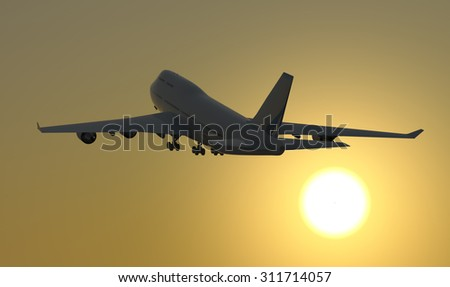 Jet airplane takeoff at sunrise. A Jet airplane takes off during sunrise towards a clear sky. - stock photo