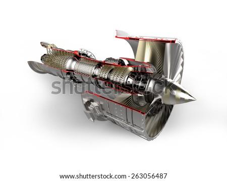 Jet engine isolated - stock photo