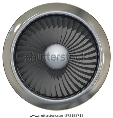Jet engine, turbine blades of airplane, 3d illustration - stock photo