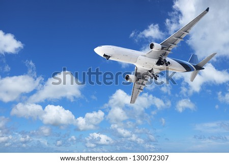 Jet in a sky. In high ( native ) resolution. - stock photo