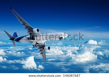 Jet in flight - stock photo