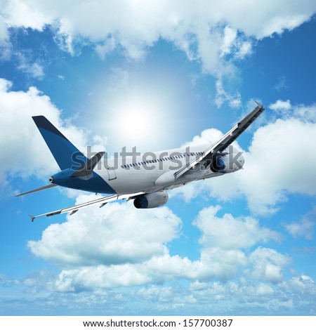 Jet in flight. Square composition. - stock photo