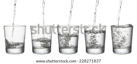 jet of water that fills a glass, set of glasses from empty to full, on white background - stock photo