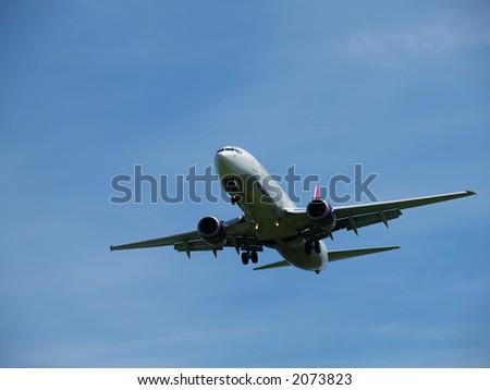 Jet on approach - stock photo