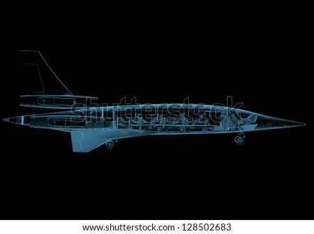 Jet plane (3D x-ray blue transparent isolated on black) - stock photo