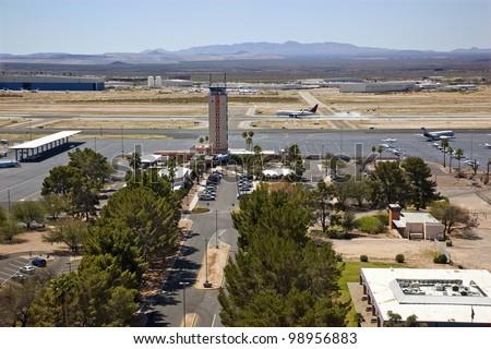 Jet plane landing at Tucson International Airport - stock photo