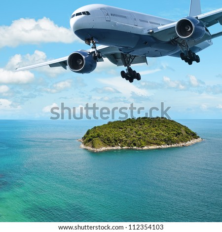 Jet plane over the tropical island. Square composition. - stock photo
