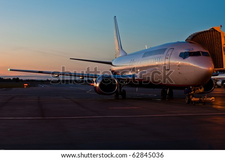 Jet plane stand on ground - stock photo