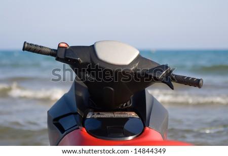 Jet-ski rudder in sea, close-up - stock photo