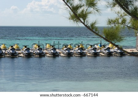 Jet-Ski's Lined up and Ready - stock photo