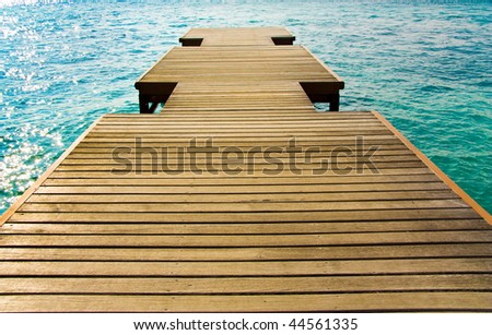Jetty for air planes on Maldives, Male airport - stock photo