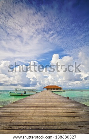 Jetty Maldives 03 - stock photo