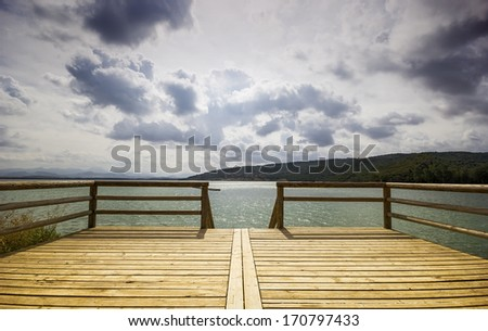 Jetty of Bornos, one of the white villages in Cadiz, Andalusia, Spain - stock photo