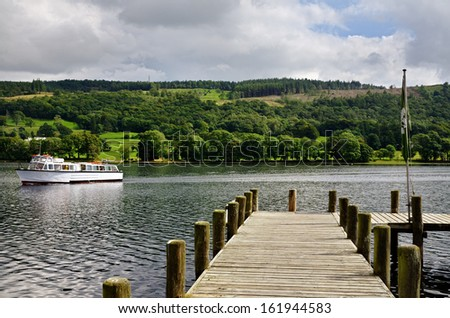 Jetty on Coniston Water - stock photo