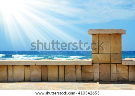jetty on the beach background - stock photo