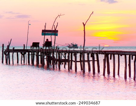 Jetty to Eternity Evening Meditation  - stock photo