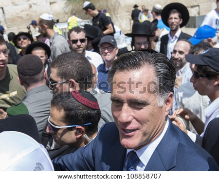 JEUSALEM - JULY 29 :  US Republican presidential candidate Mitt Romney visit the Western wall in old Jerusalem during his visit to Jerusalem, Israel on July 29, 2012 - stock photo