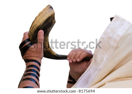 Jew blowing in shofar of Rosh hashana. - stock photo