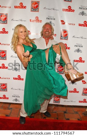 Jewel and Richard Branson at Rock The Kasbah presented by Virgin Unite. Roosevelt Hotel, Hollywood, CA. 07-02-07 - stock photo