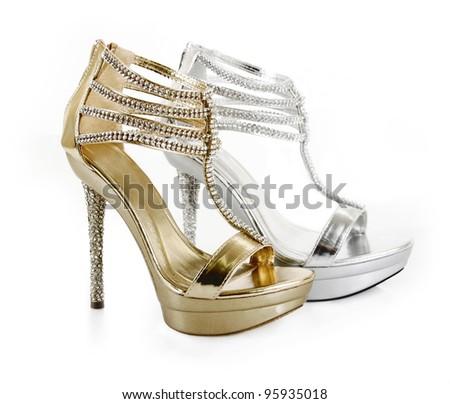 jeweled evening shoes isolated on white - stock photo