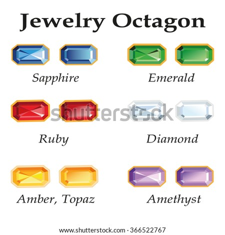 Jewelery set with faceting octagon - diamond, emerald, sapphire, ruby, amethyst, topaz and amber on white background. - stock photo