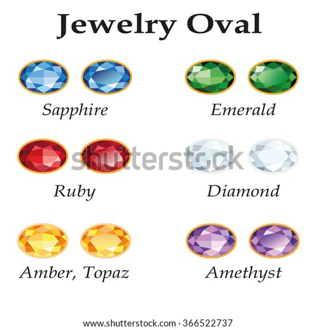 Jewelery set with faceting oval - diamond, emerald, sapphire, ruby, amethyst, topaz and amber on white background.  - stock photo