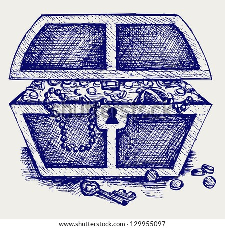 Jewellery and a box. Doodle style. Raster version - stock photo