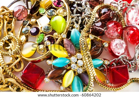 Jewellery arranged at the background - stock photo