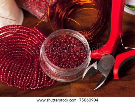jewellery making accessories close up - stock photo