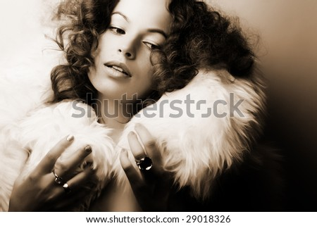 Jewelry and Beauty. Fashion art photo (sepia toned) - stock photo