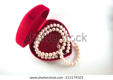 jewelry box with white pearl bracelet - stock photo