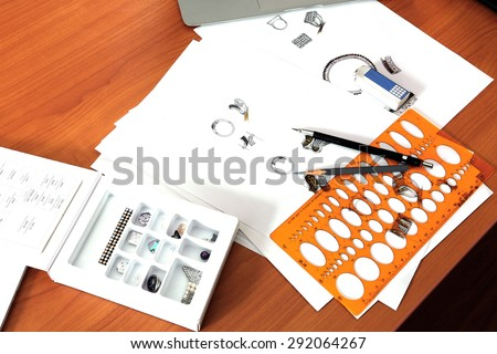Jewelry design and drawing - stock photo