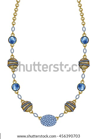 Jewelry Design art  necklace.Hand pencil drawing and painting on paper. - stock photo