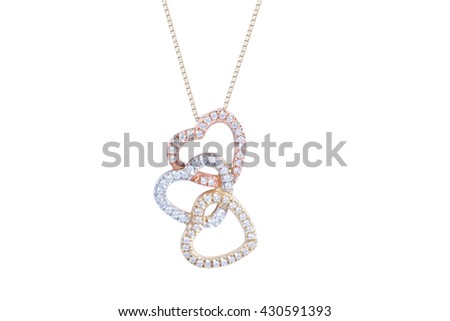 Jewelry gold heart-shaped necklace with white diamonds on white background. Isolated - stock photo