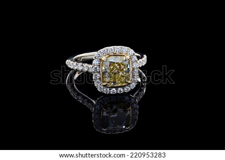 Jewelry ring on a black background. - stock photo