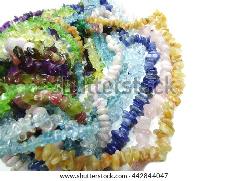 jewelry semiprecious beads made of geological minerals - stock photo