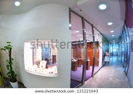 jewelry store shop indoors - small business - stock photo