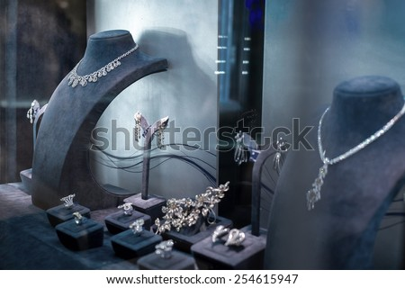 jewelry window display - stock photo