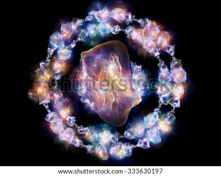 Jewels for Martian Girl series. Composition of  colorful organic forms and lights to serve as a supporting backdrop for projects on jewelry, beauty, art, science, magic and imagination - stock photo