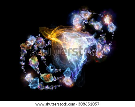 Jewels for Martian Girl series. Design composed of colorful organic forms and lights as a metaphor on the subject of jewelry, beauty, art, science, magic and imagination - stock photo